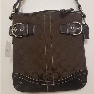 Coach Chocolate Brown Printed Sleek Crossbody Bag